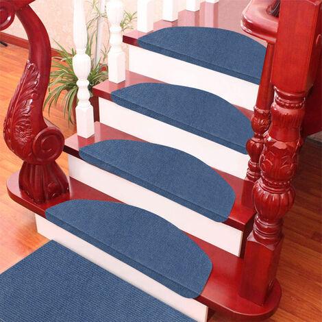 WYCTIN®Alfombra de escalera,Estera de escalera-azul,autoadhesiva,Juego de 15,65 x 21 x 4cm