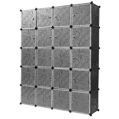 WYCTIN®Armoire Penderie 20 Cubes LANGRIA Modulable Meuble Etagères de Rangement Motif de Fleur Bouclé pour Vêtements/ Chaussures