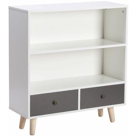 WYCTIN®Bibliothèque scandinave bois blanc et gris 80*30*90cm