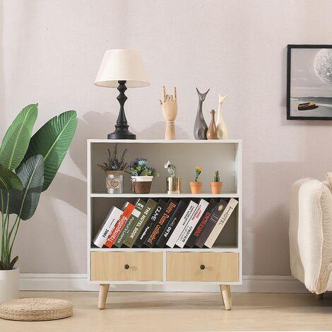 WYCTIN®Bibliothèque scandinave bois blanc et imitation hêtre 80*30*90cm