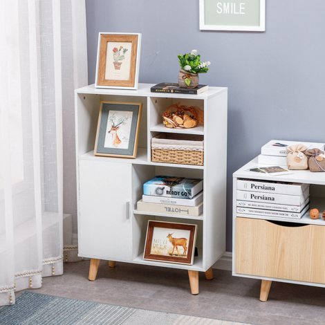WYCTIN®Bibliothèque scandinave pieds en bois Blanc - L 60 cm