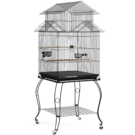 WYCTIN®Cage pour les Oiseaux 59 x 59 x 145 cm Cage sur Roulettes Canaries Perroquet Perruches Calopsittes Pinson Inséparables