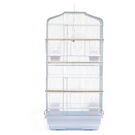 WYCTIN®Cage pour Oiseaux Volière de Perroquet Canaries Perruche Canaris 46*36*92cm, avec 4 mangeoires, 3 perchoirs blanc