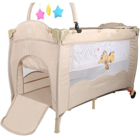 WYCTIN®Cama de juego para bebé plegable portátil, cuna, tocador, parque y cuna con función mecedora, color crema