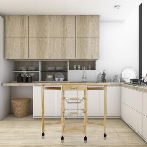 WYCTIN®Chariot de service desserte à roulettes pliable multi-rangements tiroir étagère paniers plan travail en bois