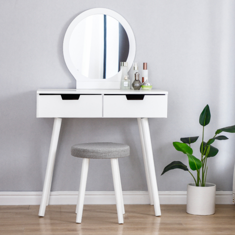 """main image of """"WYCTIN®Coiffeuse table maquillage 80*40*128cm Miroir rond 2 Tiroir avec coulisses"""""""