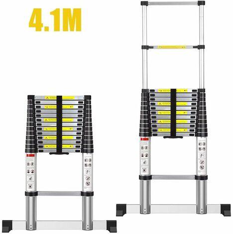 WYCTIN®Échelle Pliable, Echelle Telescopique, 4,1 mètre(s), Sac de transport OFFERT, EN 131, Charge maximale: 150 kg