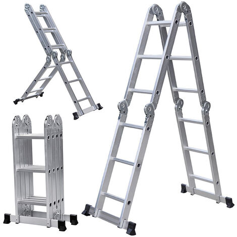 WYCTIN®Escalera De Aluminio Plegable 3.6cm Escalera 3 en 1 de Aluminio Multipropósito Combinación y Andamio, Plataforma de Trabajo andamio, escalera de trabajo, plataforma de trabajo, soporta hasta 150 kg