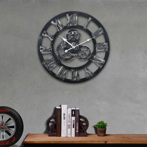 WYCTIN®Grand Horloge Murale 3D Mécanique Home Decor Modern Design Horloge murale