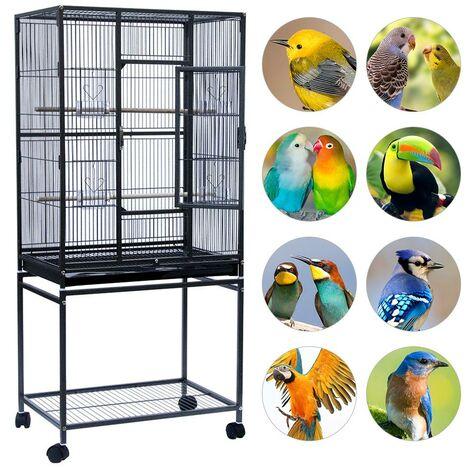 WYCTIN®Jaula de Pájaros con Puerta Jaulas para Aves con 4 Ruedas Universales Jaulas para Canarios Loros 61,5x43x137 cm Negro