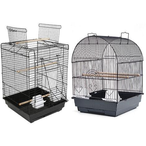 WYCTIN®Jaula para Pájaros de Metal Pajarera con Bandeja para Canarios Comederos y Perchas Pinzones Periquitos 40x35x51 cm Negro