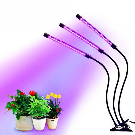 WYCTIN®Lámpara de Crecimiento Lampara de Plantas LED Lampara de Cultivo Grow Light Indoor Lámpara de Planta Espectro Completo 30W Interruptor Temporizador Auto 3/6/12H Regulable 360°6 Brillo 3Modos