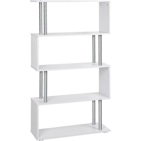 WYCTIN®Libreria di Design Moderna 4 Ripiani, Bianco, 80x30x145cm