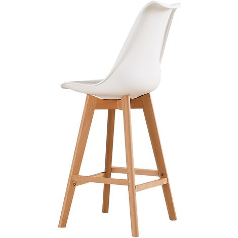 WYCTIN®Lot de 4 chaises hautes scandinaves Bovary Blanc