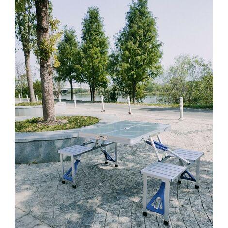 WYCTIN®Mesas y sillas plegables,Mobiliario de camping,Aluminio,1 mesa + 4 sillas,120 x 60 x 55-70cm