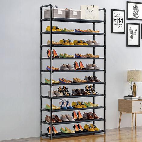 WYCTIN®Meuble à Chaussures 10 Étagères Modulables Structure en Acier 100 cm x 29,5 cm x 176 cm Noir