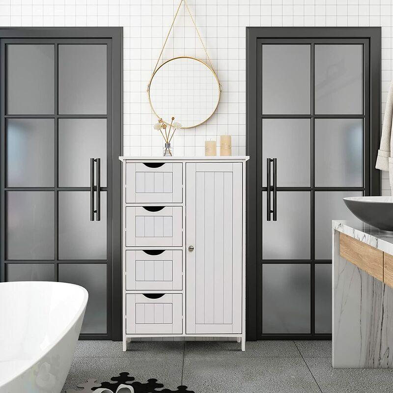 WYCTIN®Meuble de rangement salle de bains chambre commode Blanc 4 Tiroirs 1 Porte en MDF Blanc ...