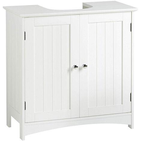 WYCTIN®Meuble sous lavabo aqua blanc 60*30*60cm avec 2 portes pour salle de bains
