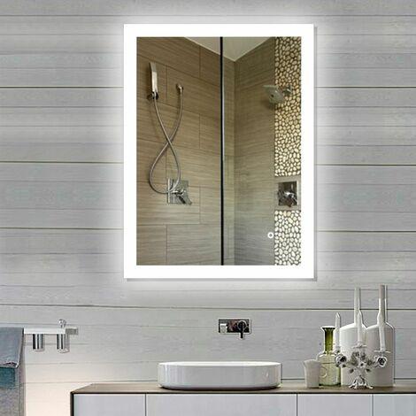 WYCTIN®Miroir Salle de Bain Miroir Mural 90*70CM Nouvelle Génération Anti-Brouillard bouton tactile