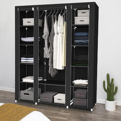 WYCTIN®Penderie, Armoire, 3 portes, 172 x 134 x 43 cm, Noir, Matériau: Tubes en acier inoxydable, Connecteurs de tuyaux en plastique