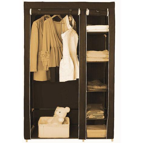 WYCTIN®Pliage bricolage placard en tissu coincé vêtements système d'étagère armoire vêtements rail garde-robe Marron