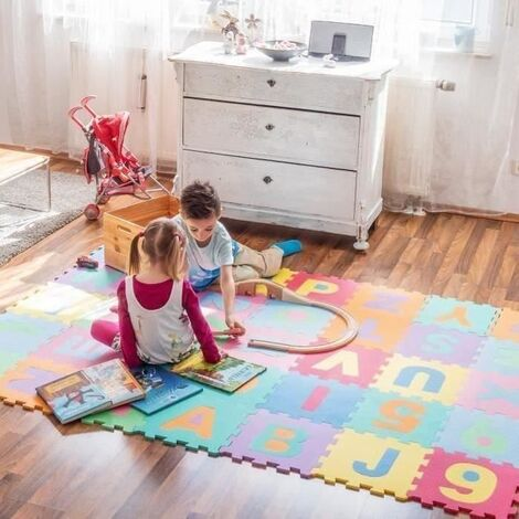 WYCTIN®Puzzle tapis mousse non-toxique 36 pcs Jeu éducatif Enfants de développement doux tapis, bébé jouer puzzle nombre/lettre tapis