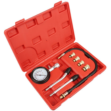 WYCTIN®Testeur compression Compressiometre Essence auto moto bateau 9 pcs avec une mallette rouge,Matériau: Acier C45