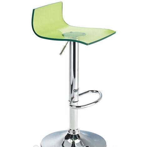 Wye Transparent Acrylic Adjustable Breakfast Bar Stool - Green Green Acrylic Perspex Metal Green 58 - 80 cm Chrome