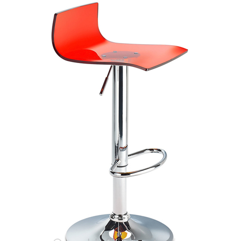 Wye Transparent Acrylic Adjustable Breakfast Bar Stool - Red Red Acrylic Perspex Metal Red 58 - 80 cm Chrome