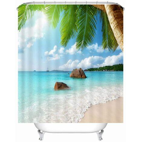 X-Labor Beach Motif Rideau de douche Tissu imperméable anti-moisissure incl. 12 anneaux de rideau de douche Rideau de baignoire lavable 180x200cm Pattern-C