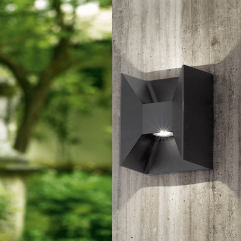 X Morino LED H18 cm IP44 - Anthrazit-förmige Wand Licht im freien