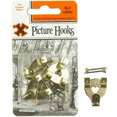 X Original Patent Steel Picture No. 3 Hooks (Pack Of 3) (One Size) (Brass)