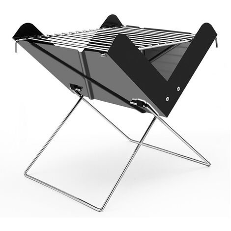 """main image of """"X-shaped small mini outdoor bbq grill, portable folding grill, black"""""""
