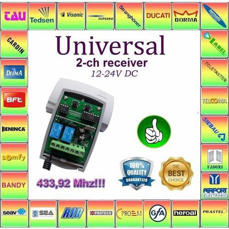 X2 Recepteur radio 433.92Mhz 12-24V pour porte de garage Alarme CAME TOP432NA, TOP434NA