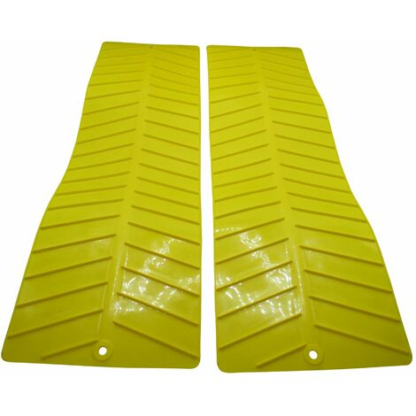 """main image of """"x2 Yellow Anti Slip Traction Mats - Tyre Grip Mud Rescue Snow Recovery Track"""""""