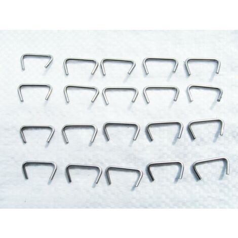 """main image of """"x20 4MM Shock Cord Crimping Clamps - Stainless Steel Hog Rings Crimps Staples"""""""