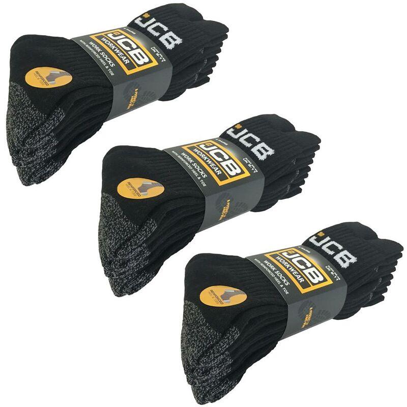 Image of x3 JCB 4 Pack of Site Work Boot Socks Reinforced Heel Toe Black Grey Size 6-11