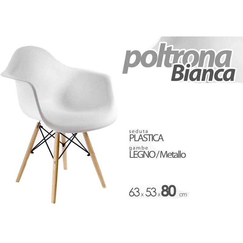 Argonauta - Poltrona casa ufficio bianca design piedi in legno