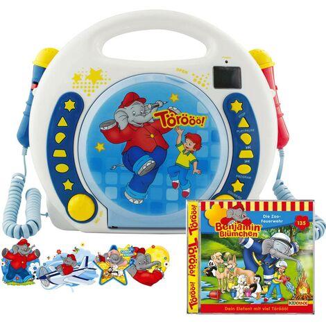 X4 Tech Bobby Joey Benjamin Blümchen Lettore CD per bambini CD, SD, USB incl. funzione karaoke , incl. Microfono Blu,
