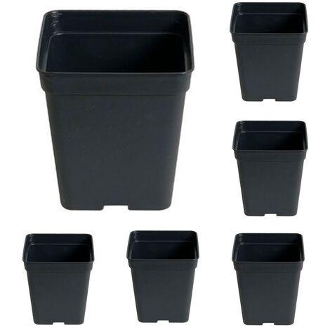 x6 Maceta Cuadrada Negra. Plástico Duro. 13 X 10 Cm. 1,2 L