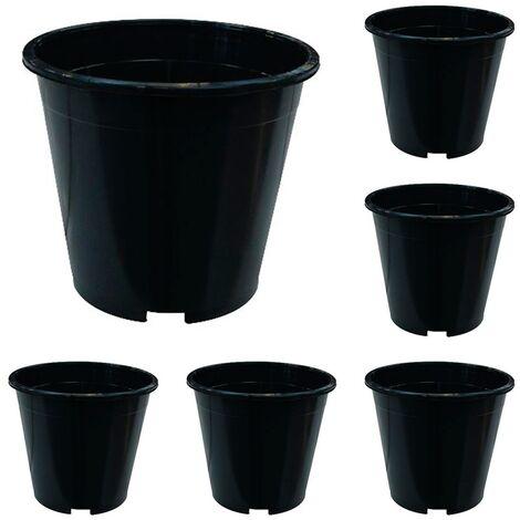 x6 Maceta Redonda Negra de Cultivo. Ø 19 Cm. 3 L. 6 Unidades
