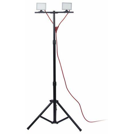 XANLITE - Projecteur de Chantier LED sur Pied, Filaire, x2 Têtes, 10 W, 1600 Lumens - PR10W2T