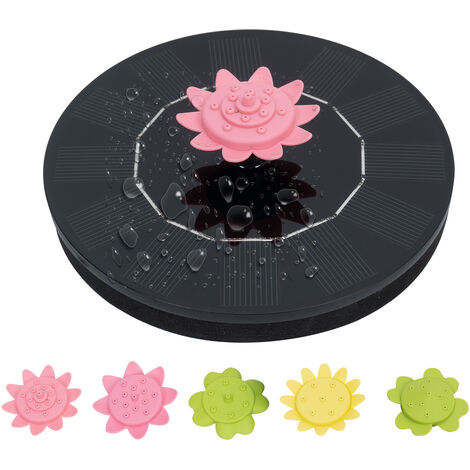 """main image of """"Xh01-130a solar floating petal fountain 6V / 1W is equipped with 5 petal nozzles (the nozzle can be used as a gyro to play), Black"""""""