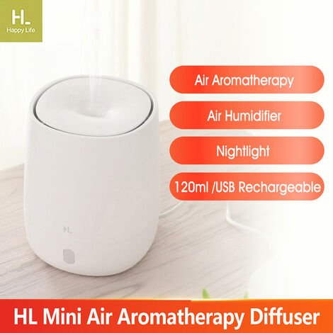Xiaomi Hl Mini Air Aromatherapie Diffuseur Usb Portable Humidificateur Quiet Maker Mist Aroma Avec Veilleuse Pour Office Car Home Yoga 120Ml, Blanc
