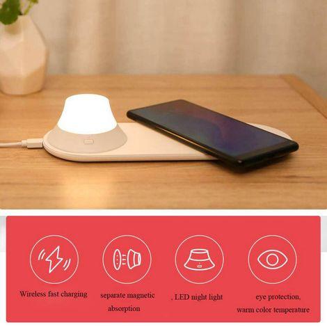 Xiaomi Yeelight Chargeur Sans Fil Avec LED Veilleuse Attraction Magnétique Rapide Pour iPhone Samsung Huawei Téléphone Hasaki