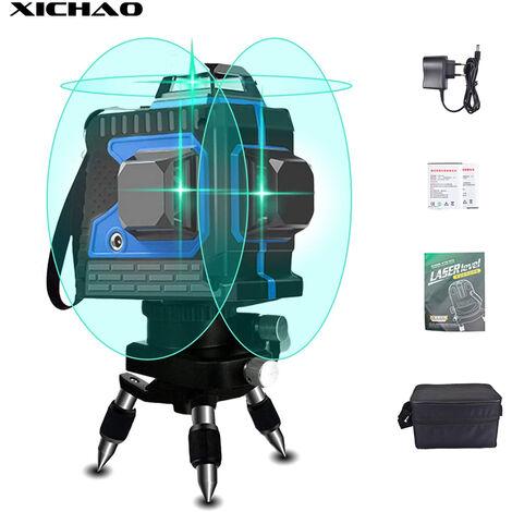 """main image of """"XICHAO Niveau Laser Vert 3D, 3 * 360 ° 12 Lignes Croix Niveau Laser Rotatif Automatique Avec Vertical et Horizontal pour Intérieur et Extérieur"""""""