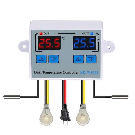 XK-W1088 ordinateur affichage numerique Intelligent double controle electronique Thermostat double affichage double temperature DC12V