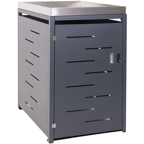 XL 1er-/2er-Mülltonnenverkleidung HHG-385, Mülltonnenbox, Pflanzkasten Edelstahl-Metall-Kombi 117x73x98cm erweiterbar