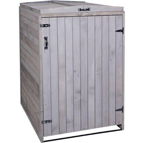 XL 1er-/2er-Mülltonnenverkleidung HHG-981, Mülltonnenbox, erweiterbar 120x75x96 Massiv-Holz