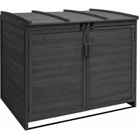 XL 2er-/4er-Mülltonnenverkleidung HHG-017, Mülltonnenbox, erweiterbar 116x131x92cm Holz FSC-zertifiziert
